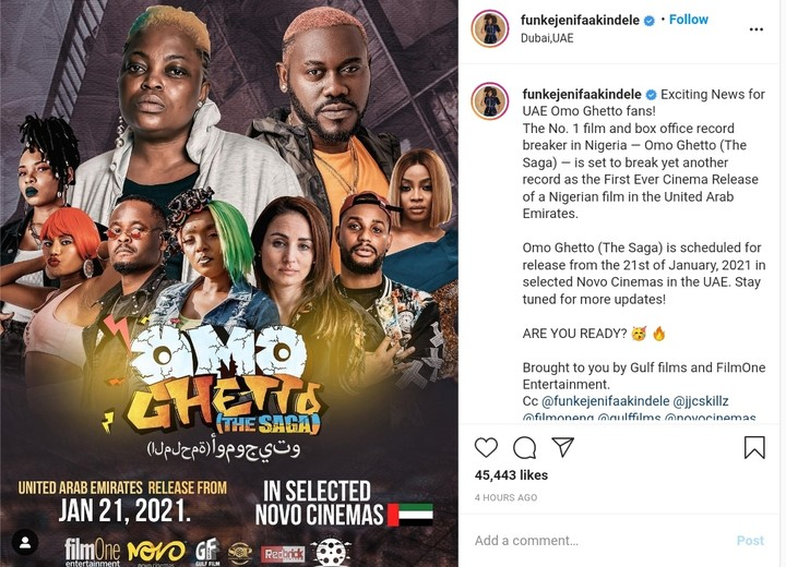 """Omo Ghetto"""" Breaks Record As The 1st Nigerian Movie To Be Aired In Dubai  Cinemas - Gistmania"""