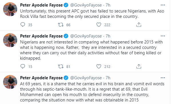 """""""At 69, You Vomit Evil From Your Septic-Tank-Like Mouth"""" - Fayose To Lai Mohammed"""