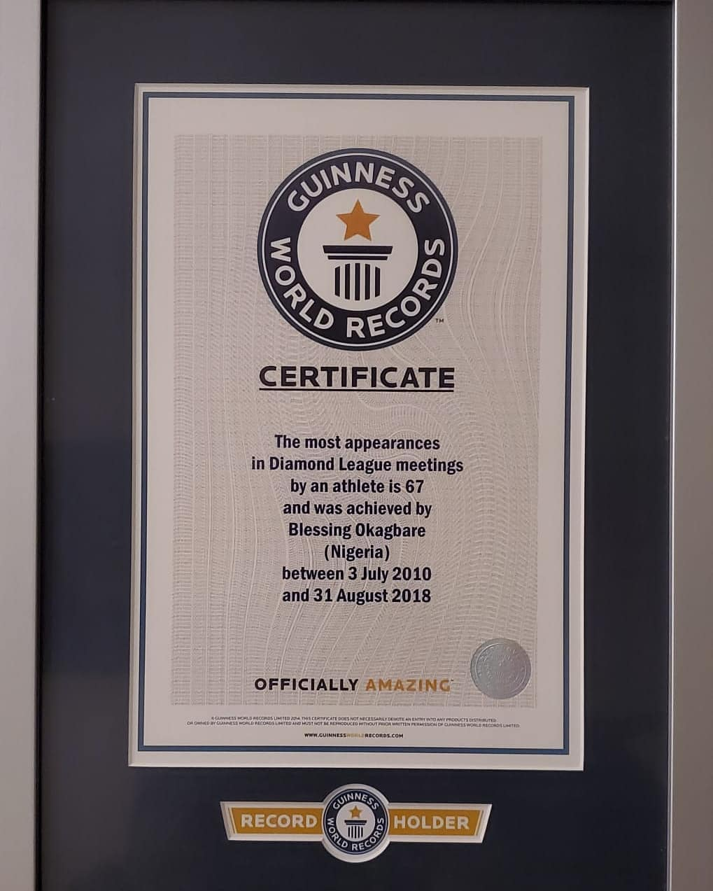 Blessing Okagbare Receives Guinness World Records Certificate