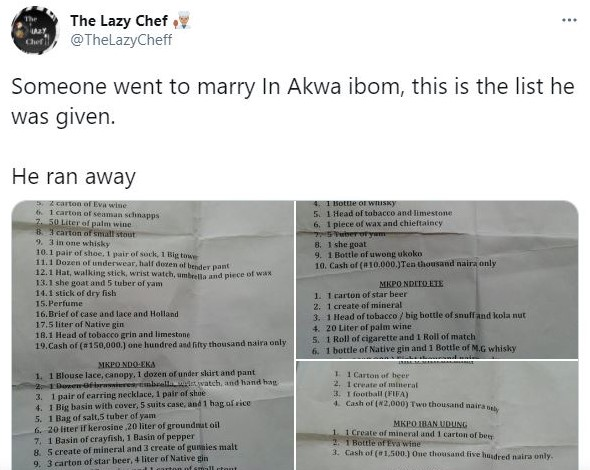Man Runs Away After Outrageous Traditional Marriage List In Akwa Ibom