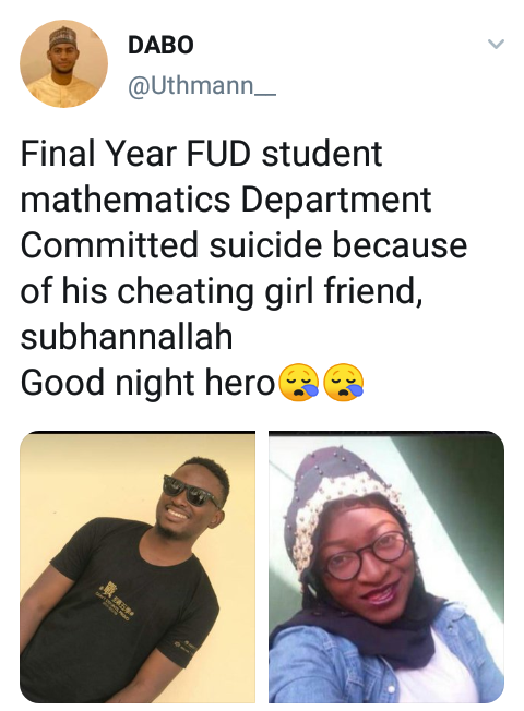 FUD Undergraduate Commits Suicide After His Girlfriend Cheated On Him on Valentine's Day