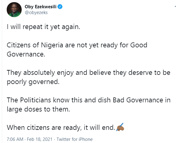 'Nigerians Believe They Deserve To Be Poorly Governed' - Oby Ezekwesili