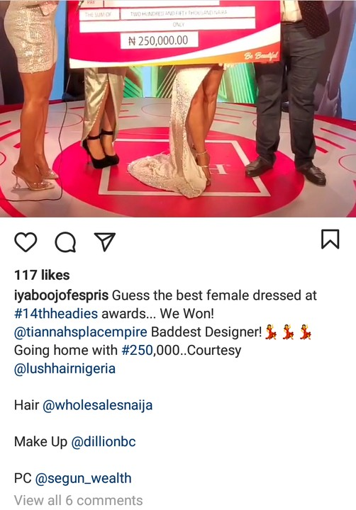 Iyabo Ojo Wins ₦250,000 As Best Dressed Female At The 14th Headies Award