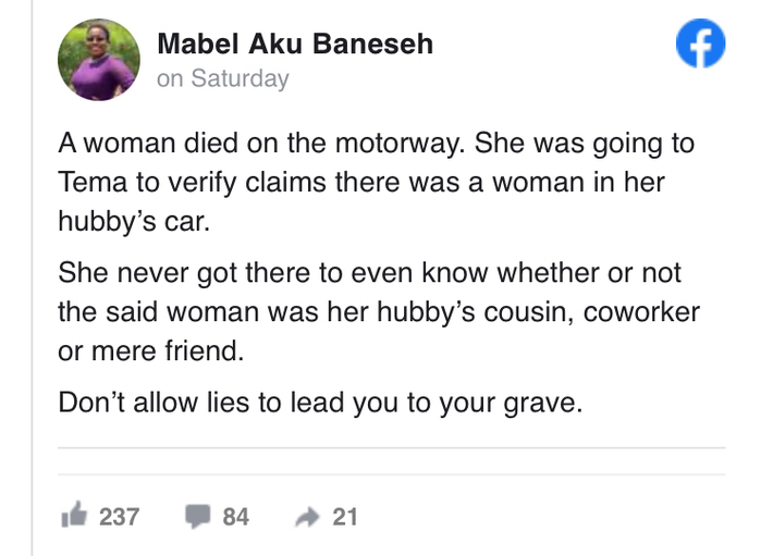 Ghanaian Woman Dies While Speeding To Catch Her Cheating Husband