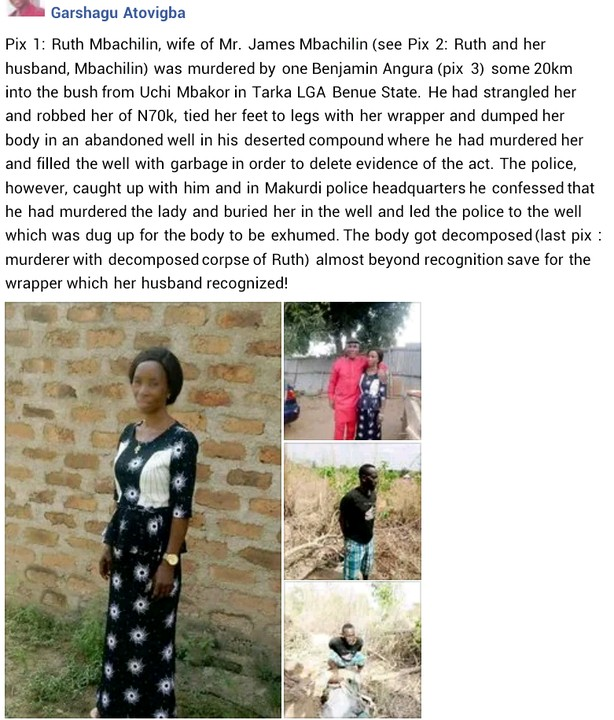 Benue Man Robs, Kills Woman After Rape Attempt, Dumps Body In A Well (Photos)
