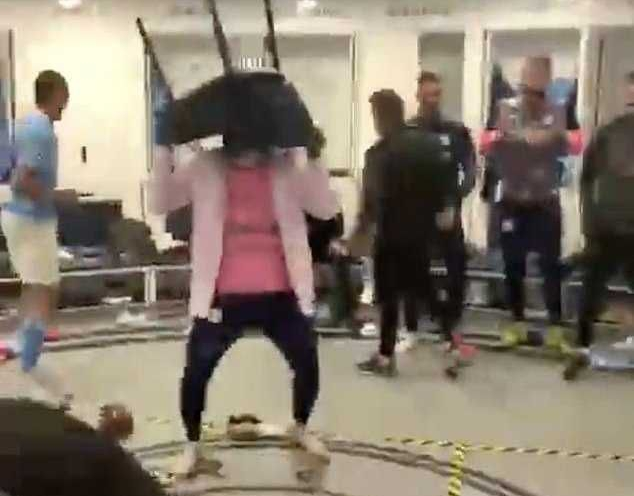 Man City Players Celebrate First Champions League Final In Dressing Room