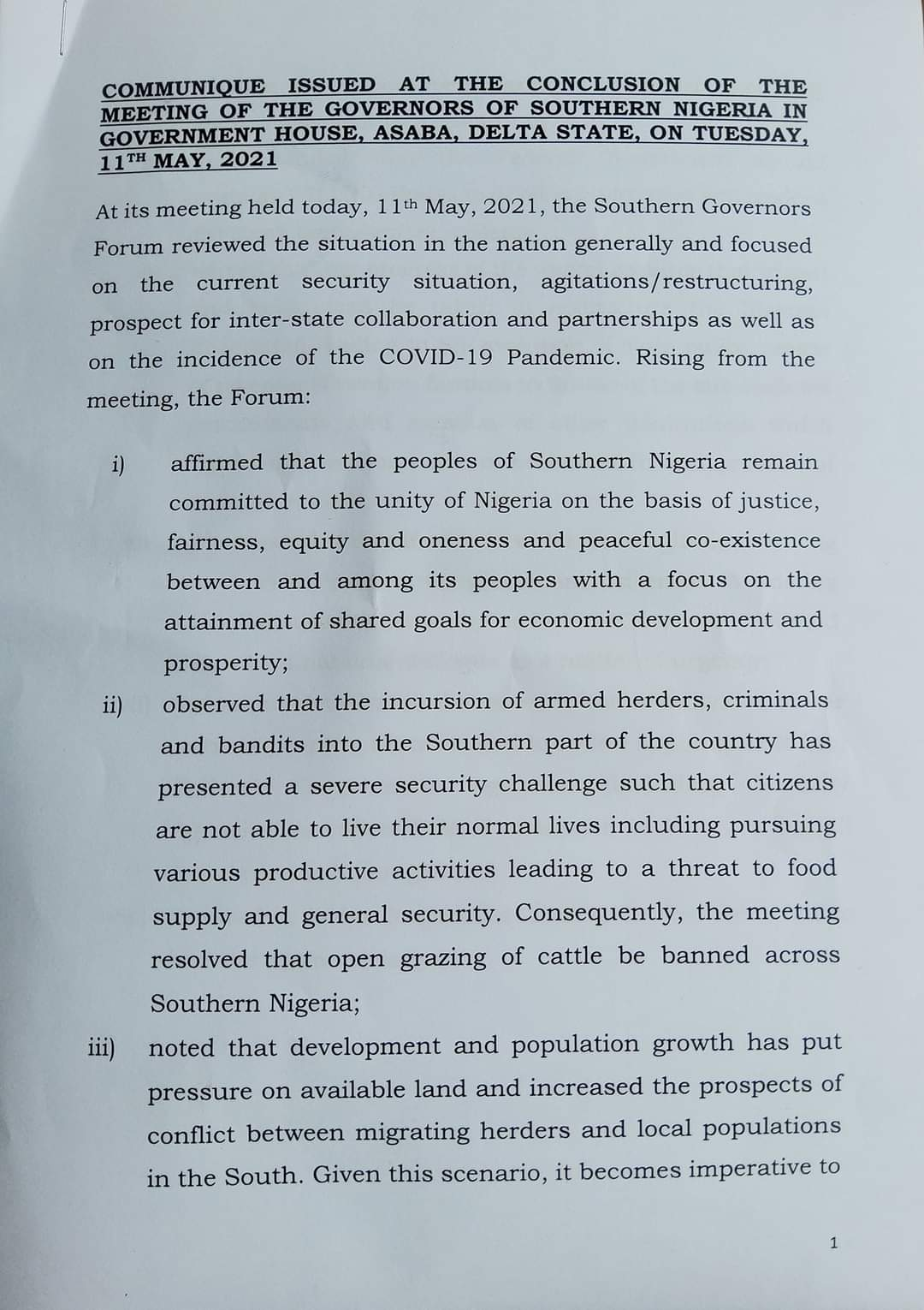 Southern Governors Forum Ban open grazing of cattle across the three regions, call on Federal Government to convoke a national dialogue as a matter of urgency