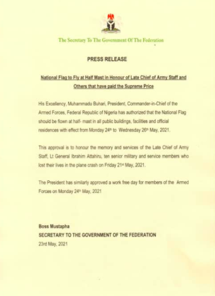 FG Declares Monday Work-Free For The Armed Forces In Honour Of Late COAS