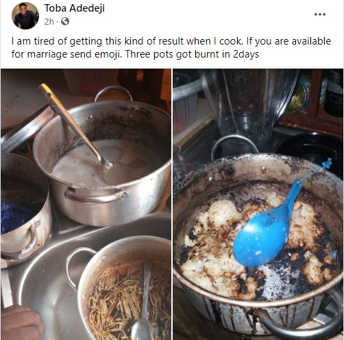 Nigerian Man Searches For Wife After Burning 3 Pots Of Food In 2 Days