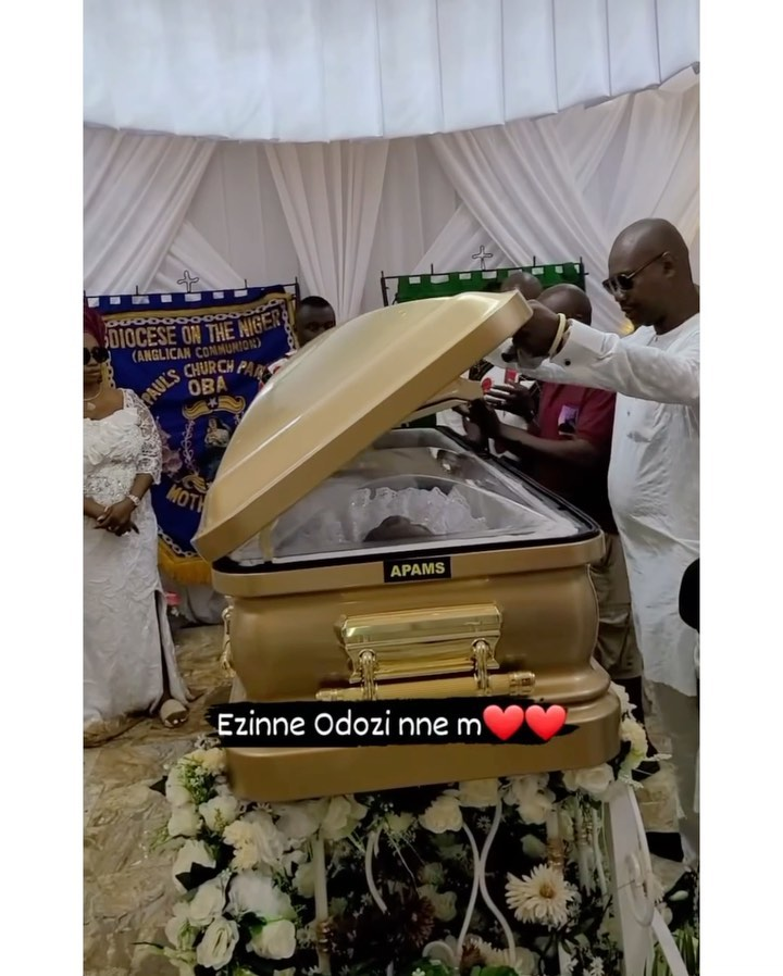 SEE Photos Of Obi Cubanas Mother's Foreign Gold Plated Casket Worth ₦30M