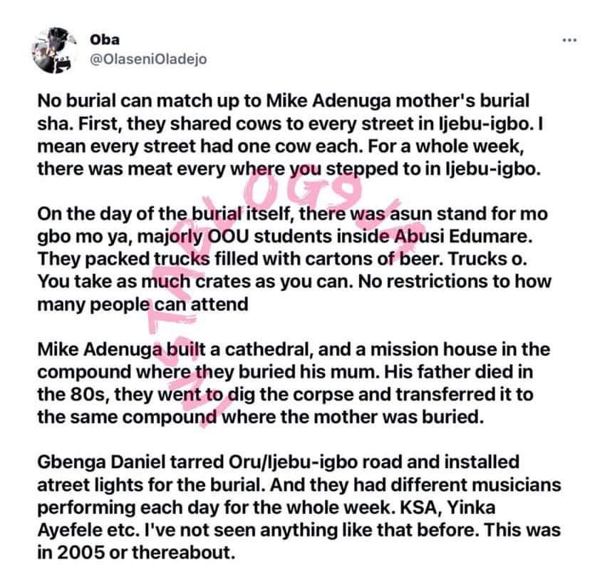 Mike Adenuga Mother's Burial Remains The Biggest In Nigeria, Obi Cubana's Mothers Burial Doesn't Come Close- Social Media User Explains
