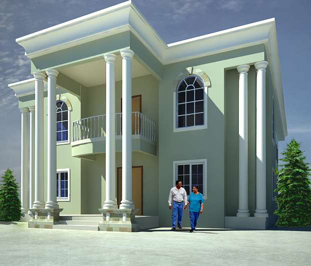 The building of the elegant 5 bedroom duplex in port for Building duplex homes cost