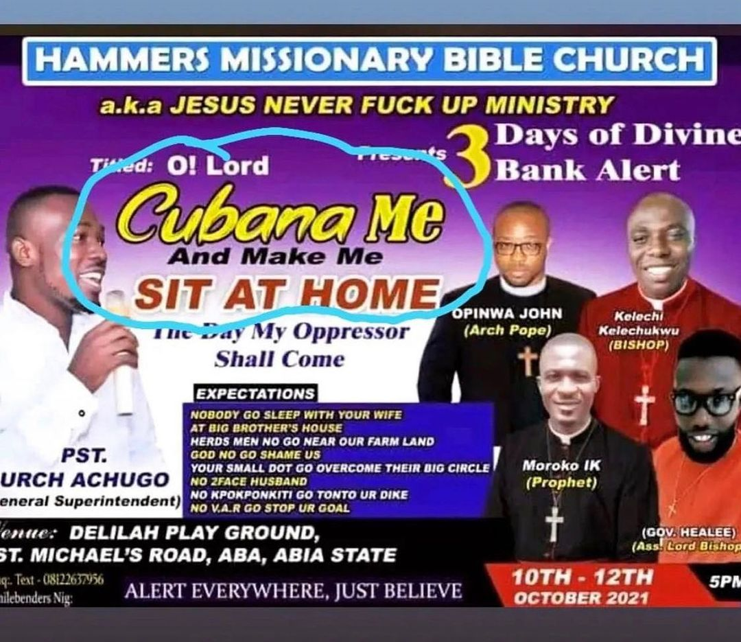 """""""O Lord Cubana Me And Make Me Sit At Home""""- Obi Cubana, Freddie Leonard, Others React To Funny Church Poster"""