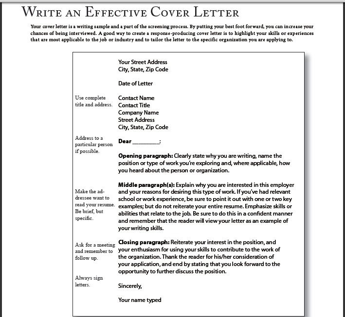 keys to writing an effective cover letter