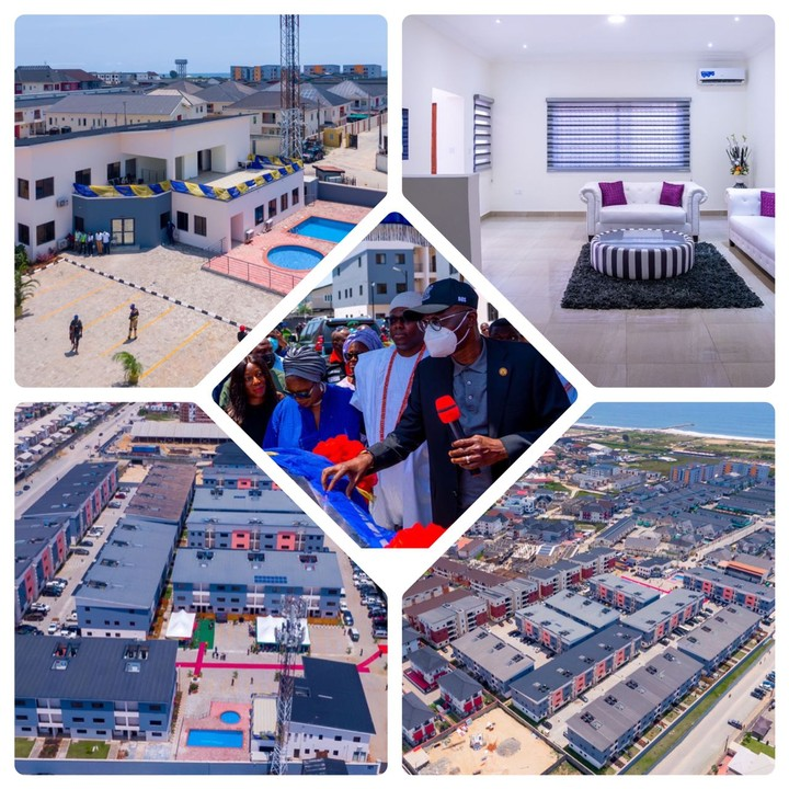 Governor of Lagos State, Mr Babajide Sanwo-Olu today commissioned a 100 Housing Units at Ikate, Lekki, Lagos, the Housing units is known as Bayview Estate.