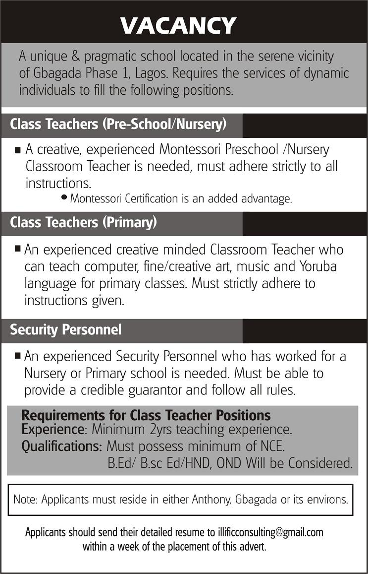 Vacany: Class Teacher For Pre-school/nursery & Primary And ...