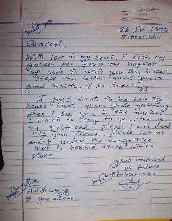 My first love letter did you write yours romance nigeria oya lets get the ball rolling expocarfo Image collections