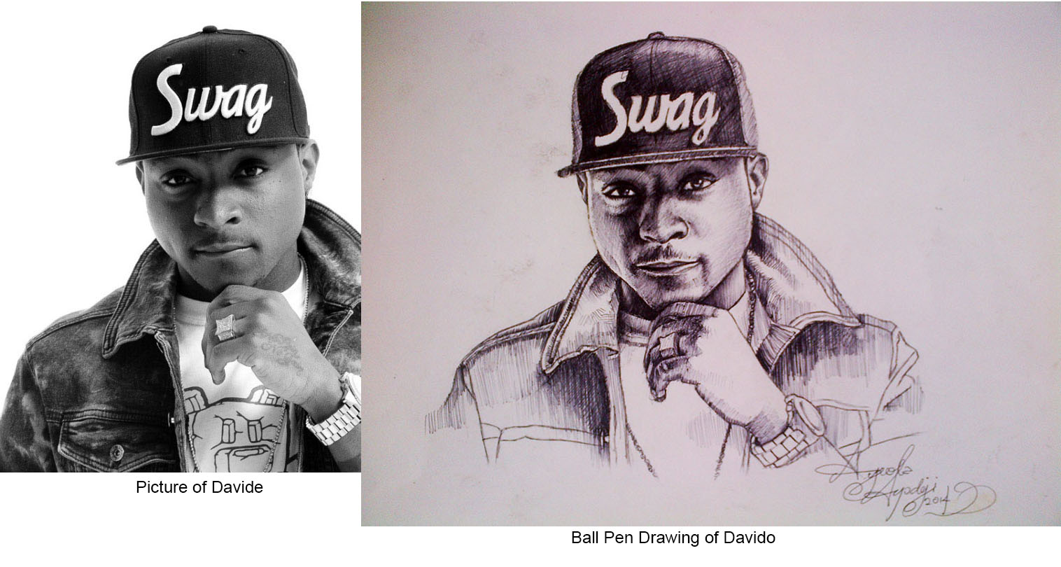 Ball pen drawing of davido done by ayeola ayodeji abiodun popular nigerian artist