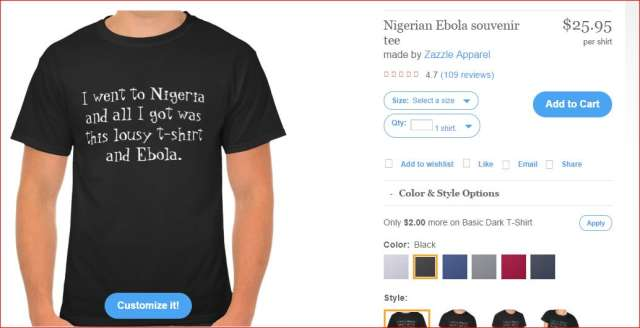 US Company Designs Ebola T-Shirt To Mock Nigeria {See Photo}
