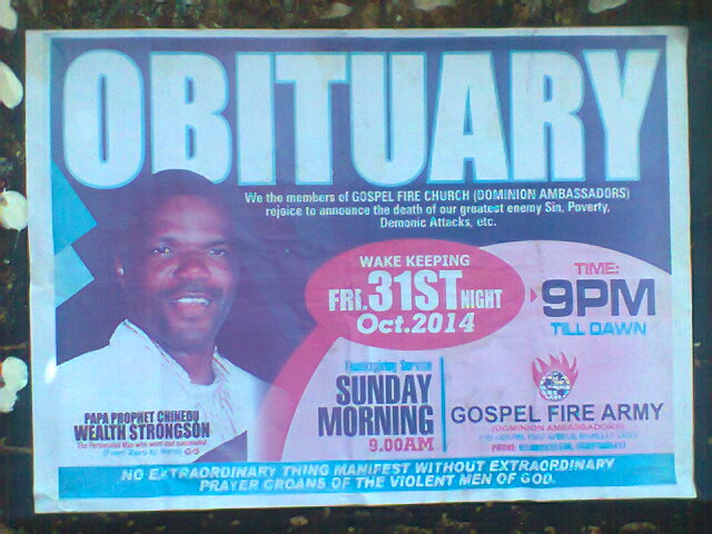 Christian obituary poster