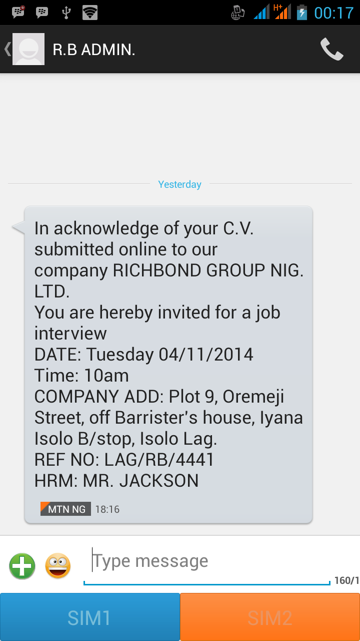 Who else got an invite for interview from richbond group nig ltd can anyone confirm the authenticity of this company the companys website mobile and email address were not included in the text thanks stopboris Choice Image