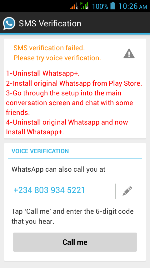 My Whatsapp+ Telling Me Sms Verification Failed - Phones - Nigeria