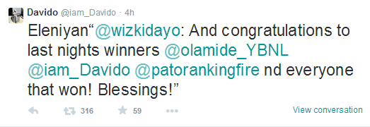 Davido Replies Wizkid's Congratulatory Message On Twitter