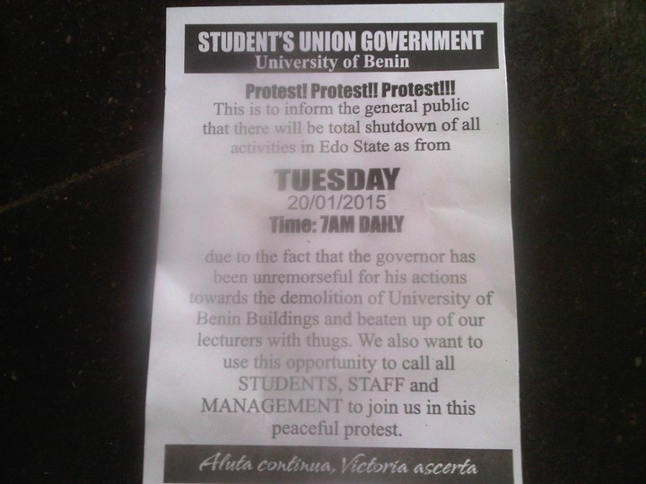 uniben is shutting edo state tommorrow picture