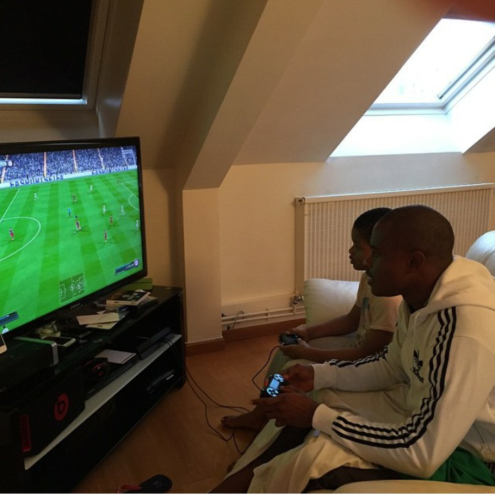Vincent Enyeama And Son Playing Football Game (Photo)