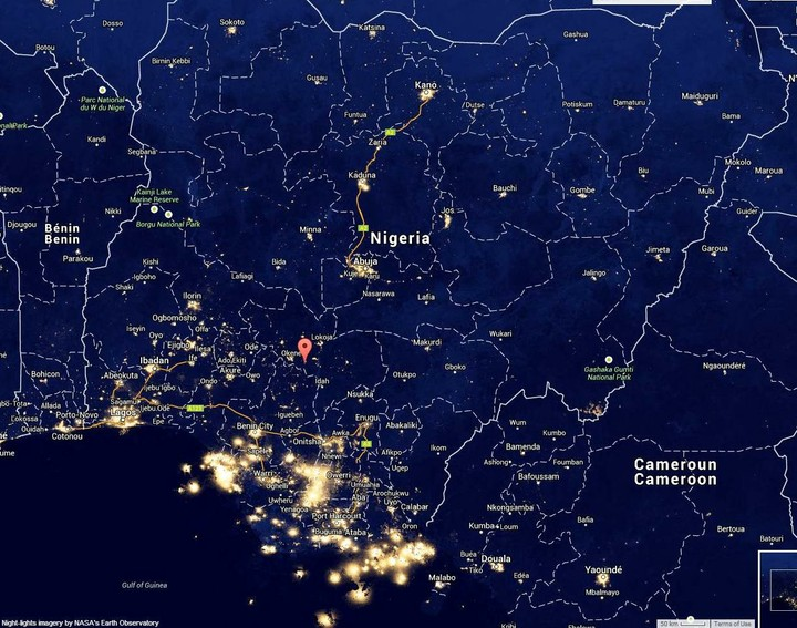 An Interesting Picture Of Nigeria At Night Taken From Space By NASA