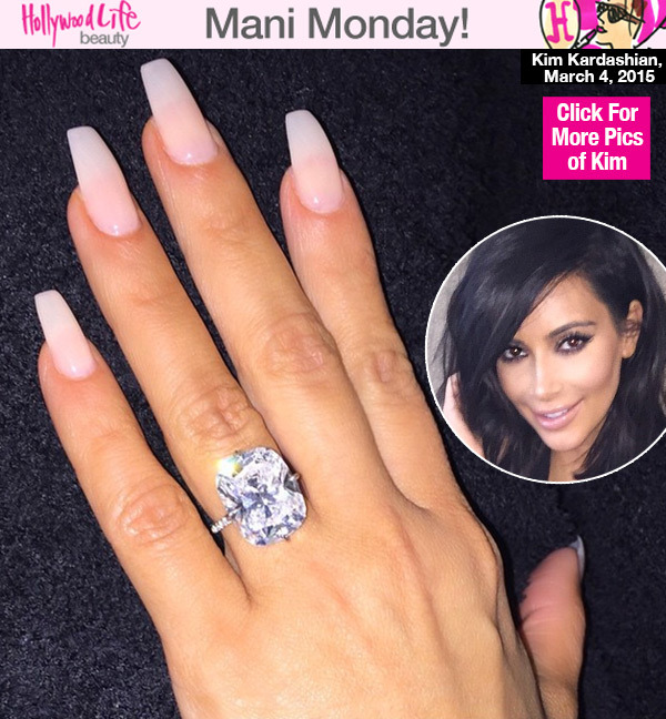 Kim Kardashian Shows Off Long Clear Nails With Massive Engagement ...