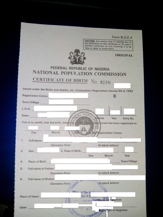 Obtaining A Birth Certificate From The National Population