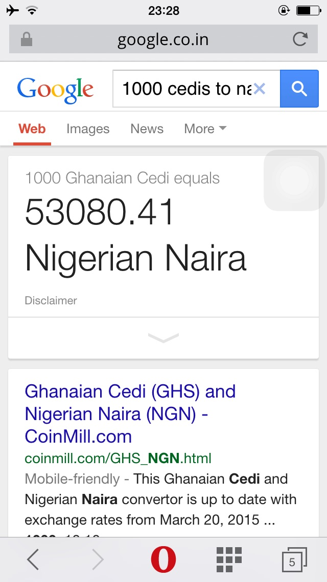 what is the exchange rate of naira to cedis