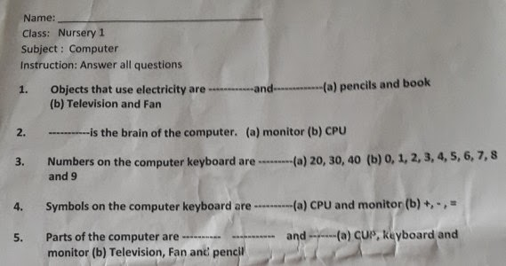 See the Exam Question Paper given to Nursery students (picture
