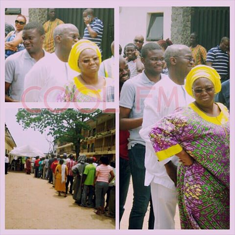 Fashola, Wife And Son In A Long Queue In A Polling Unit -