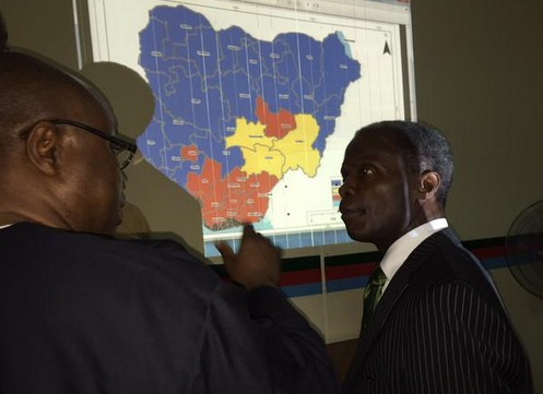 Photos Of Osinbajo Viewing Election Results In APC Situation Room || #SitRoom15
