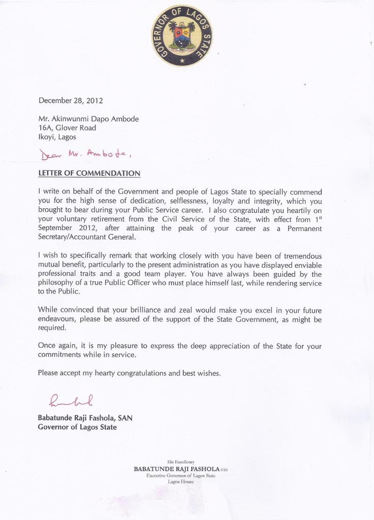 The Commendation Letter Governor Fashola Wrote To
