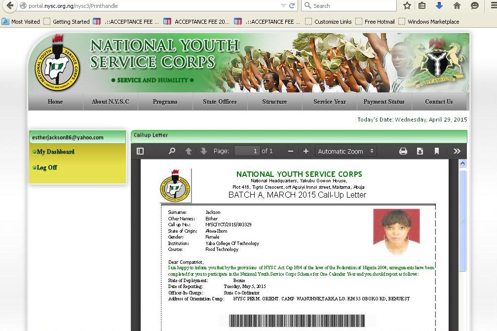 Nysc Batch B Stream  Call Up Letter Printing