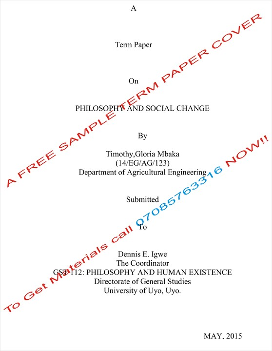 term paper front page sample