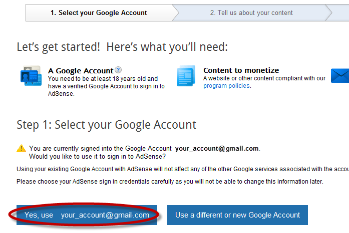Chose Your Google Account, Use Your Adsense Email Id To Connect Your Adsense  Account To Admob.