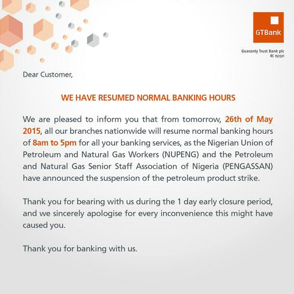 Update Gtb Resumes Normal Banking Hours Business Nigeria