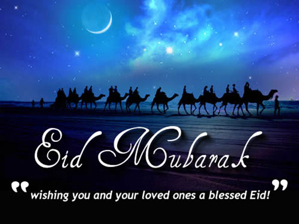 eid mubarak background with mosque and clouds - Download ...