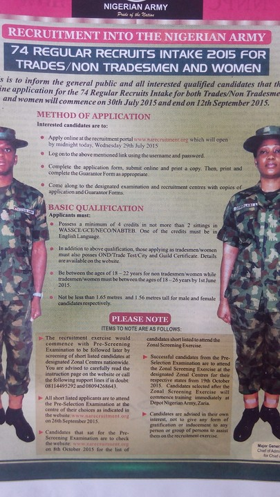 Recruitment Into The Nigerian Army 2015 - Jobs/Vacancies - Nigeria