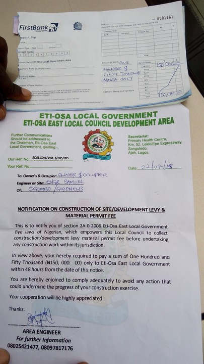 Eti Property Development : Another unverified dev levy from eti osa local gov to