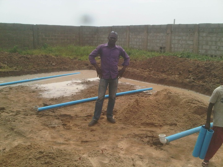 Fish pond construction concrete pond agriculture nigeria for Cement fish pond