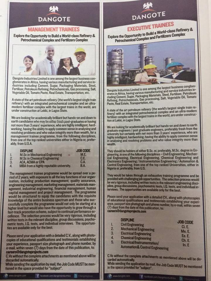 Dangote Refinery Is Recruiting, Closes On 15th August - Jobs