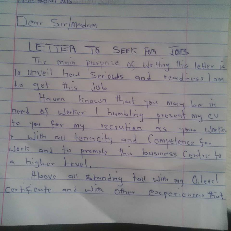 A Graduate Job Seeker Brought This Letter To My Office  Jobs