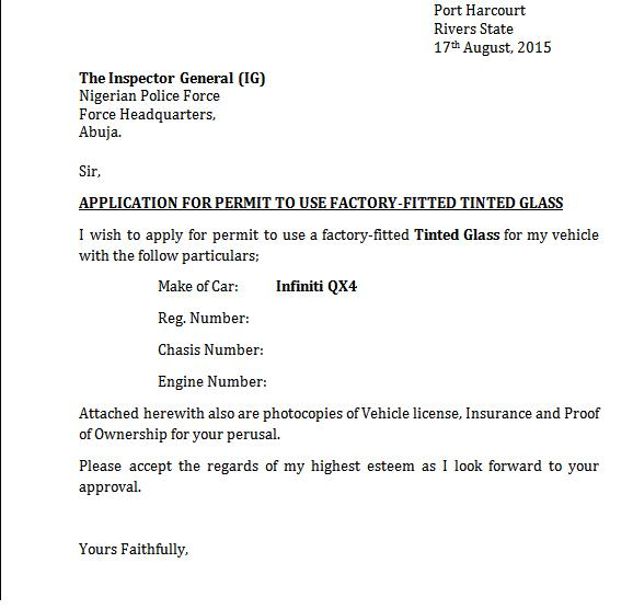 sample letter of application for permit to use tinted