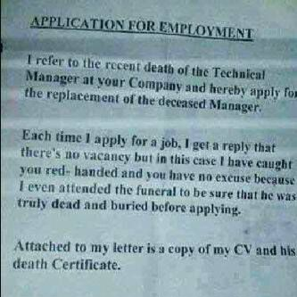 Hilarious Application Letter Written By A Desperate Job Seeker