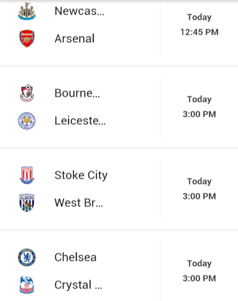 sports fixtures today